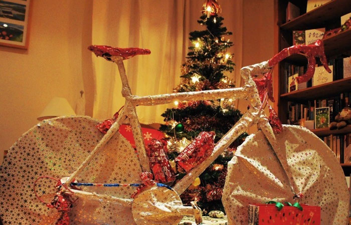 Bike wrapped up at Christmas