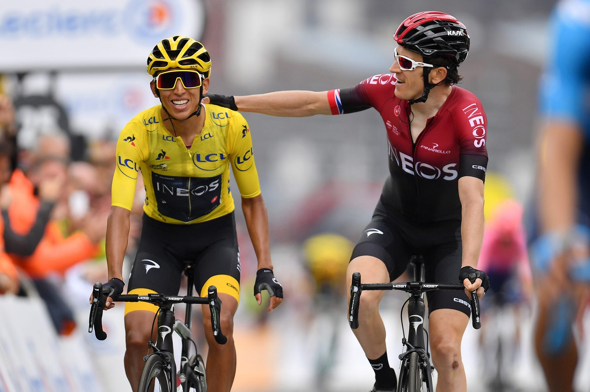 2019 Tour de France winner Egan Bernal with Geraint Thomas